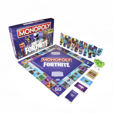 Fortnite Monopoly board laid out with games pieces around, great for indoor games