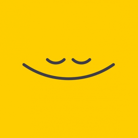Yellow background with black drawn smile in the middle. Meant to show happiness and calm.